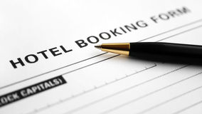 Hotel booking form Stock Photography