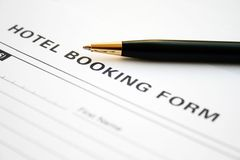 Hotel booking form Royalty Free Stock Photography