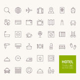 Hotel Booking Outline Icons. For web and mobile apps Royalty Free Stock Photography