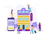 Hotel booking, people searching and reservation. Small characters doing various tasks, team working. Concept. Vector illustration in flat style royalty free illustration