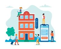 Hotel booking, people searching and reservation. Small characters doing various tasks, team working. Concept vector. Hotel booking, people searching and stock illustration