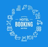 Hotel Booking Round Design Template Line Icon Concept. Vector Royalty Free Stock Photo