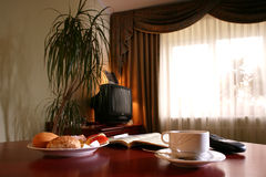 Hotel Breakfast. A continental breakfast in a hotel room royalty free stock photography