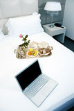 Hotel Breakfast And Laptop Royalty Free Stock Photography