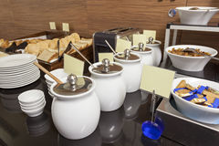 Hotel breakfast served on buffet  table Royalty Free Stock Photography