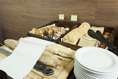Hotel breakfast served on buffet  table Royalty Free Stock Image