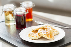 Hotel breakfast served on wooden tray Stock Photos