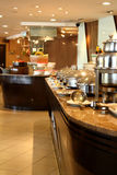 Hotel Buffet Setting. International buffet line in hotel ready to be served to the guests stock photo