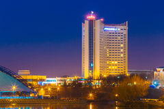 Hotel Building Belarus In Old Part Minsk, Downtown Stock Photos