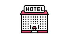 hotel building color icon animation