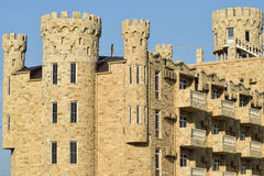 The hotel building, covered with decorative stone Royalty Free Stock Photo