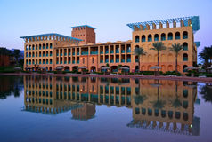 The hotel building at dusk Stock Image