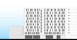 Hotel Building Facade Architectural Plan Stock Photos