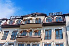 Hotel building facade on blue sky background, Lviv, Ukraine Stock Photo