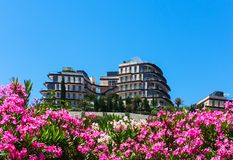 Hotel building among flowers and greenery against blue sky Stock Image