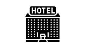 hotel building glyph icon animation