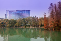 Hotel building by lake at dusk,Guilin stock photos