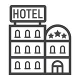 Hotel building line icon, Travel and tourism Stock Image