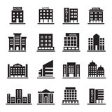 Hotel Building, Office tower, Building icons set illustration Royalty Free Stock Photography