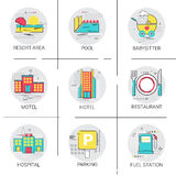 Hotel Building Restaurant Resort Area Hospital Pool Service Icon Set Stock Photo