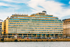 Hotel building in Scandinavian architectural style Royalty Free Stock Images
