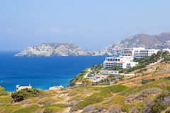 Hotel building on sea coast in Greece Stock Image