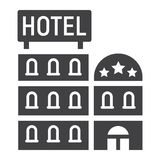 Hotel building solid icon, Travel and tourism Royalty Free Stock Images