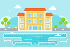 Hotel Building with Swimming Pool Resort Area Against Nature Background Stock Photography