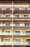 Hotel building with symmetrical metal structure stock photography