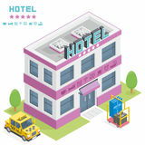 Hotel building. Vector isometric hotel building icon royalty free illustration