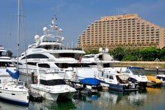 Hotel building and yacht harbor, Hongkong gold coast Stock Photography
