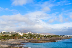 Hotel buildings on coast of Lanzarote island Stock Image