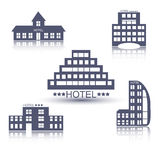 Hotel buildings flat design set Royalty Free Stock Photos