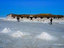 Hotel built of salt bricks on Salar de Uyuni Royalty Free Stock Photography