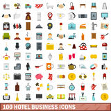 100 hotel business icons set, flat style Royalty Free Stock Photos