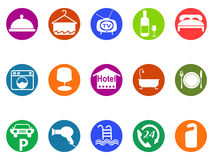 Hotel buttons icon set. Isolated hotel buttons icon set from white background Royalty Free Stock Images