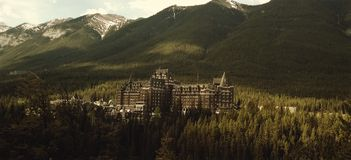Hotel in Canadian Rockies, Banff, Alberta. Hotel in foothills of Canadian Rockies in Banff, Alberta, Canada Royalty Free Stock Images
