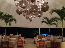 Hotel Cap Juluca Anguilla. Palm Resort Tables Stock Photos