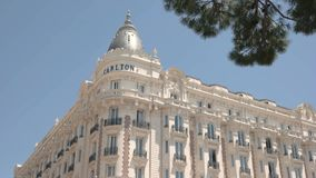 Hotel Carlton in Cannes. Quality service and best suites stock video footage
