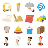 Hotel cartoon style icons set Royalty Free Stock Photography