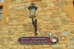 Hotel Castle Restaurant Of Karlos Arguiñano Sign KA Jatetxea Perfect Place To Eat, Tapear And Have A Good Time. Restoration Travel Architecture. March 26 royalty free stock images