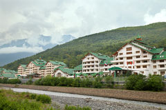 Hotel in Caucasian mountains Stock Photo