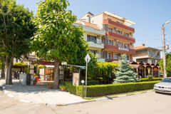 Hotel in the center of Ravda in Bulgaria. Ravda - ancient Bulgarian seaside town famous discoveries of ancient Slavic settlements. Located on the past in the royalty free stock photos