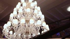 A hotel chandelier. Vintage chandelier in the hotel, interior stock footage