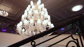 A hotel chandelier. Vintage chandelier in the hotel, interior stock video