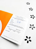 Hotel check in card. Need a Getaway - An image of a card folder for checking into a hotel or resort. Used for holding access card key and breakfast meal vouchers Royalty Free Stock Photo