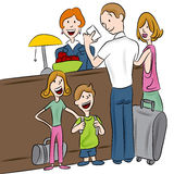 Hotel Check-in Family. An image of a family checking into a hotel Stock Images