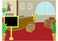 Hotel check in lobby. With display sign and luggage at angle Royalty Free Stock Photography