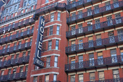 Hotel Chelsea. The Hotel Chelsea, a historic New York City hotel and landmark known primarily for the notability of its residents over the years. Bob Dylan royalty free stock photos