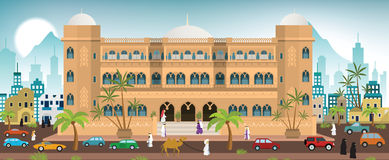 Hotel in the city (Arabia) Stock Images